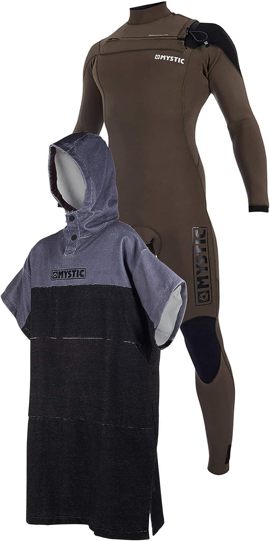 Mystic Majestic チェストジップ 5/3mm ウェットスーツ & レギュラーポンチョ または着替え用ローブタオル ビーチ ウォータースポーツ & サーフィン - 着替えローブ  Medium