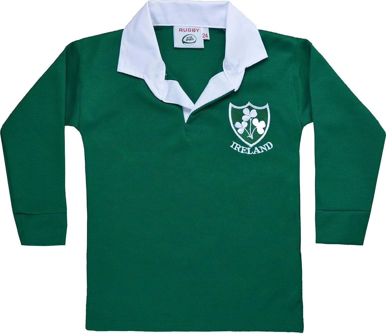 Activewear Children Ireland Irish Rugby Retro Shamrock Shirts Kids Full Sleeve Tops .Limited Edition. Sizes:22 to 33 FLIRS01