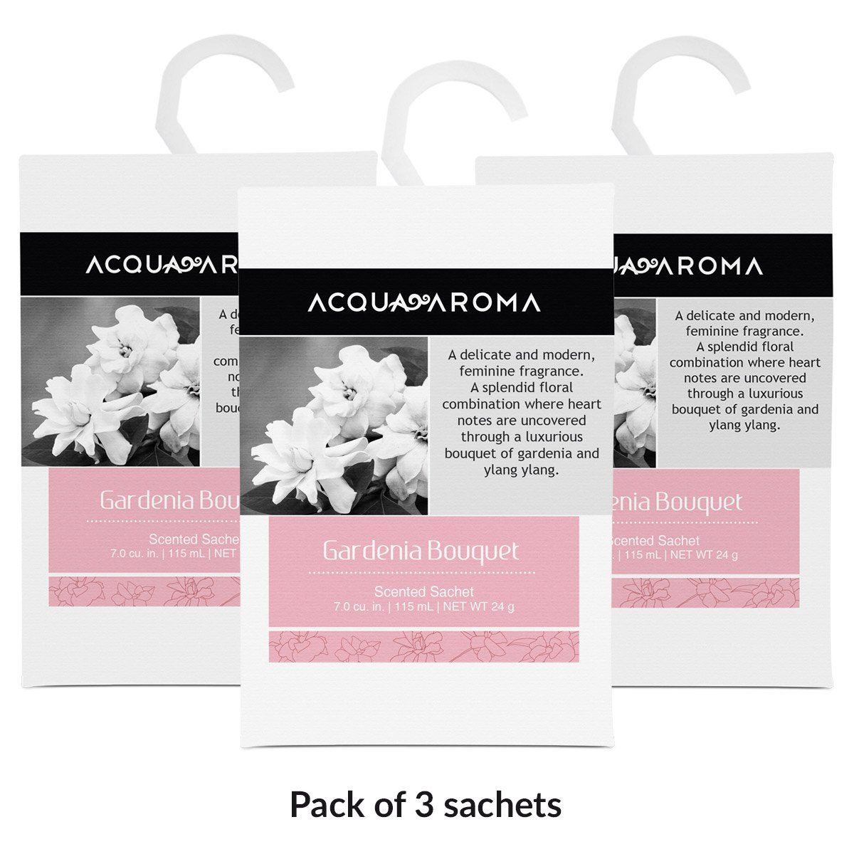 Acqua Aroma Gardenia Bouquet Scented Sachet 7.0 cu. in. (115mL/24g) - Pack of 3 Sachets B01MAWREHV