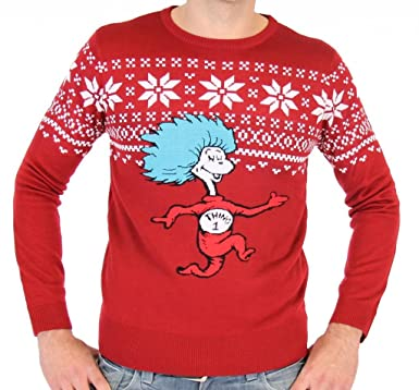 Amazon.com: Dr. Seuss Thing 1 Is On The Run Adult Ugly Christmas ...