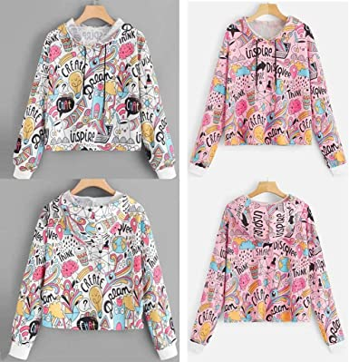 ARTFFEL Womens Pockets Printing Drawstring Graffiti Fashion Halloween Pullover Hooded Sweatshirt