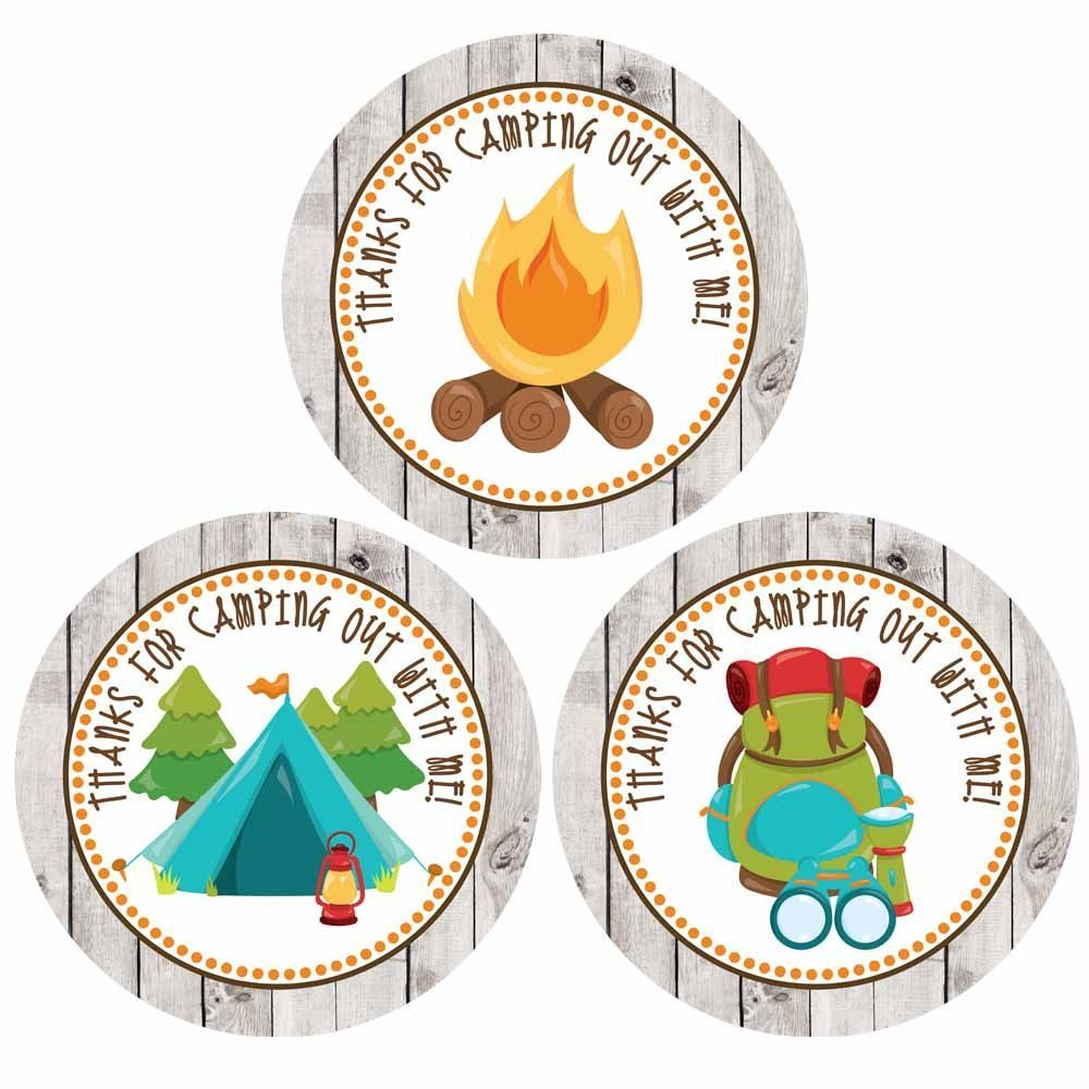 Camping Theme Birthday Party Supplies Set of 30 Thank You For Camping out With Me Sticker Labels