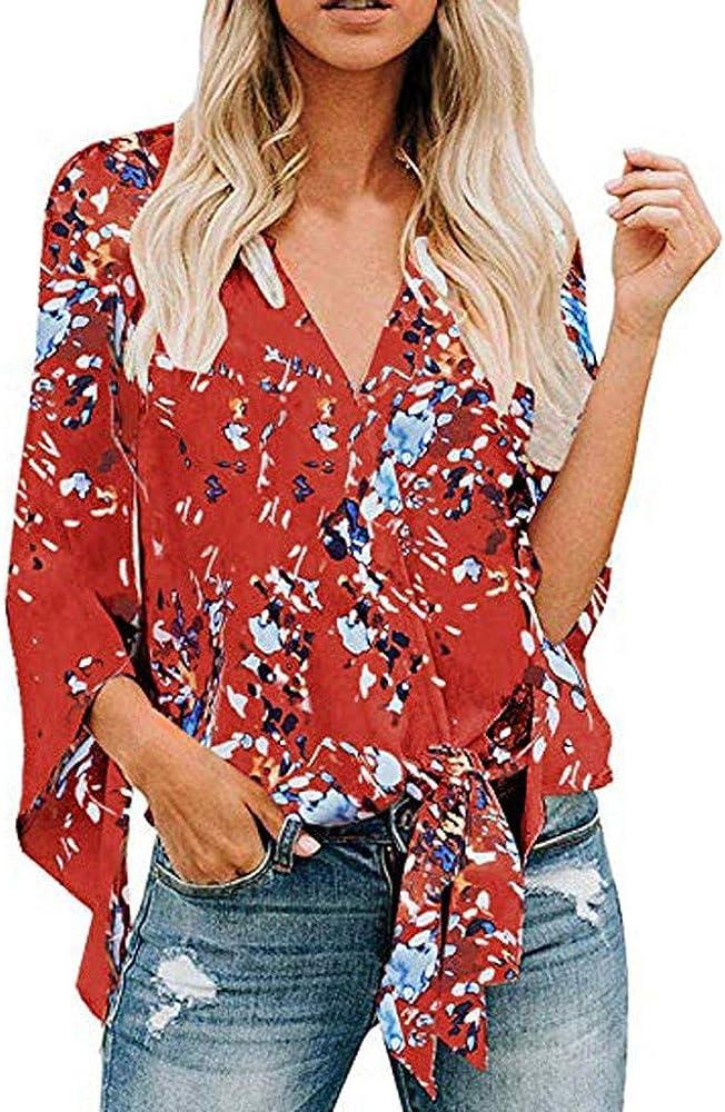 Darringls Camisetas para Mujer, Túnica con Cuello en V de Estampado Floral Vintage de Mujer Tops de Talla Grande de Moda para Mujer Casual Blusa Suelto Tops Oferta (Rojo, XL): Amazon.es: Ropa