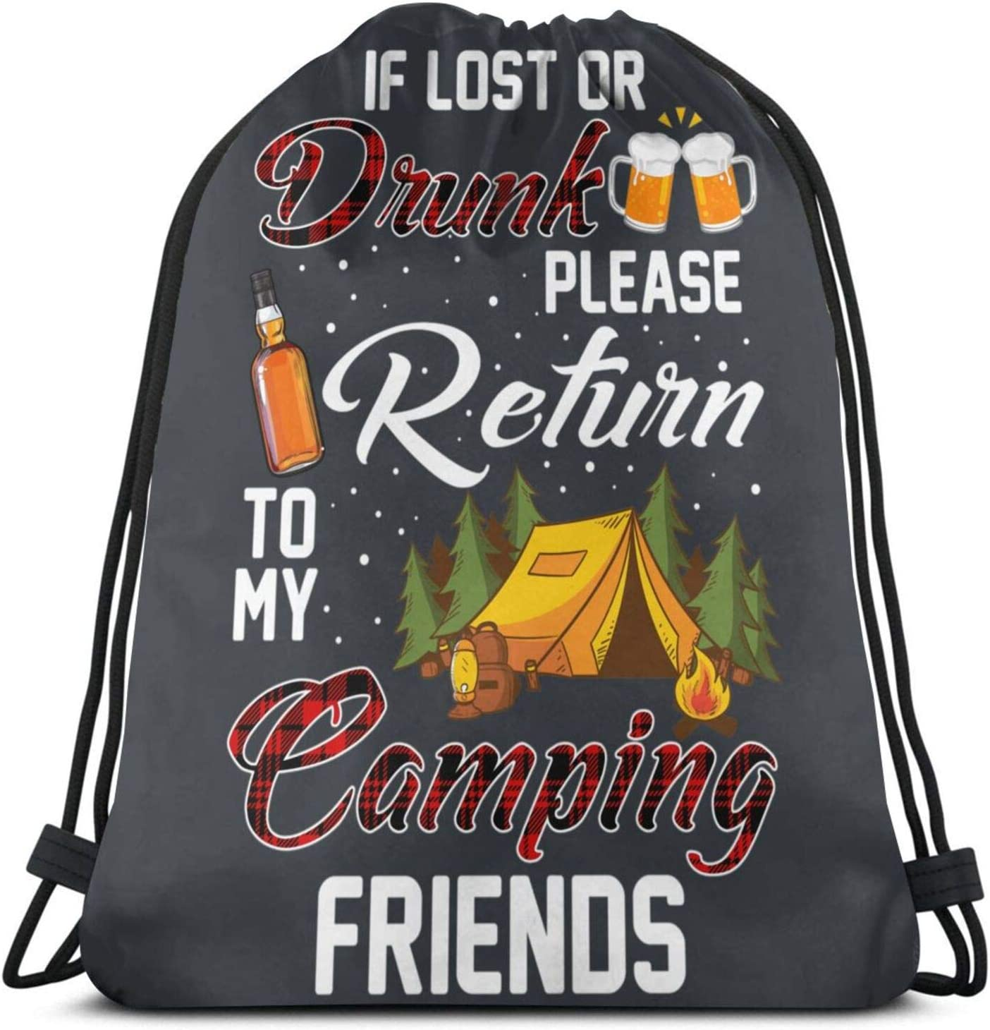 If Lost Or Drunk Please Return To My Camping Pullover Hoodie Drawstring Bag Sports ness Bag Travel Bag Gift Bag