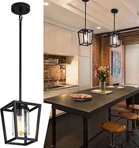 Bsyormak Pendant Lighting For Kitchen Island Farmhouse Pendant Light Over Sink Lighting Fixtures With Durable Glass Shade Adjustable Height Amazon Com