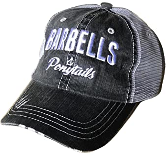 65a71bb8a8c8a7 Barbells & Ponytails Vintage Baseball Hat (Charcoal) at Amazon Women's  Clothing store: