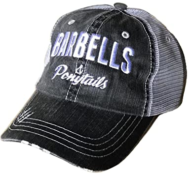 bf021f2cc00589 Barbells & Ponytails Vintage Baseball Hat (Charcoal) at Amazon ...