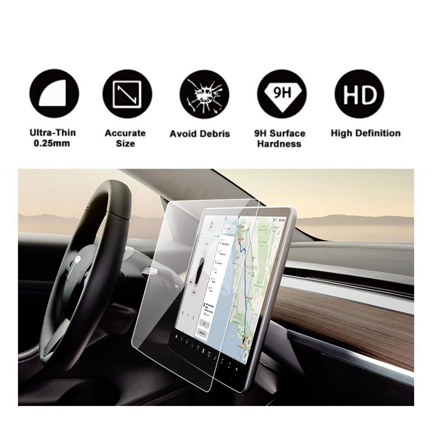 Tesla Model 3 15'' Center Control Touchscreen Car Navigation Touch Screen Protector, P50 P65 P80 P80D Tempered Glass 9H Anti-Scratch and Shock Resistant