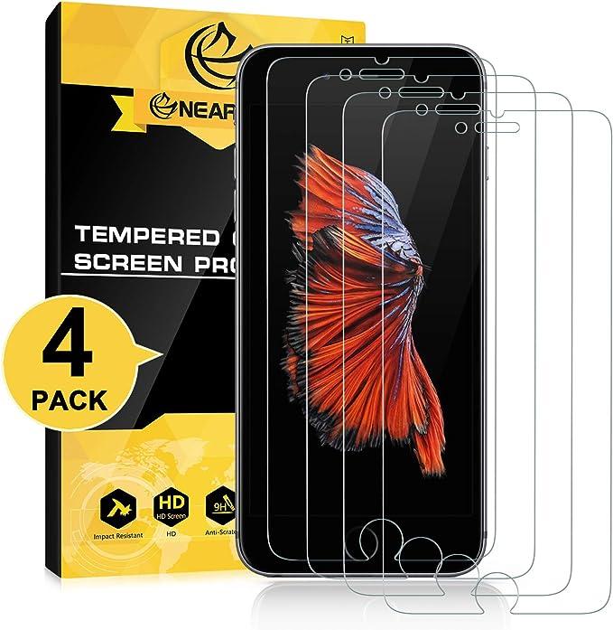 NEARPOW [4 Pack] Protector de Pantalla para iPhone 6s Plus/iPhone 6 Plus 5.5 Cristal Vidrio Templado [9H Dureza] [Alta Definicion] [Sin Burbu]: Amazon.es: Electrónica