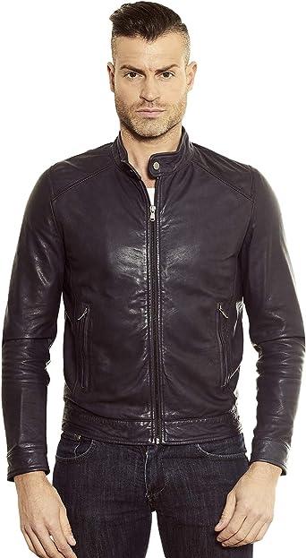 Blue Nappa Lamb Leather Biker Jacket Korean Collar