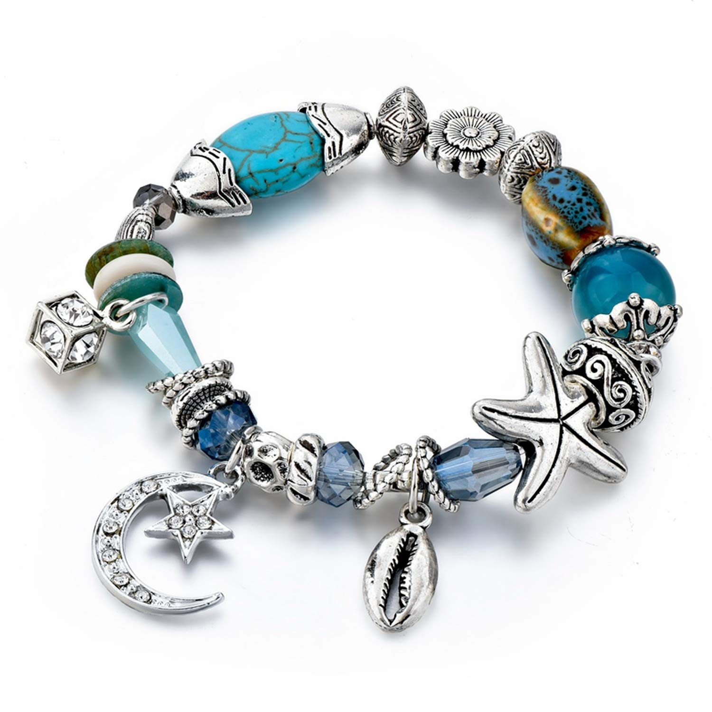 Magic Magic Shop Charm Silver Moon/⋆/&Shell Bracelets Bangles for Women Crystal Jewelry Starfish Bracelet