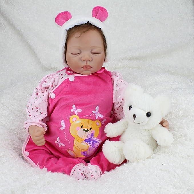 Nicery 22inch Renacido de la muñeca de silicona suave vinilo 55cm magnética Boca realista muchacha del muchacho de juguete de color rosa dormir Ojos ...