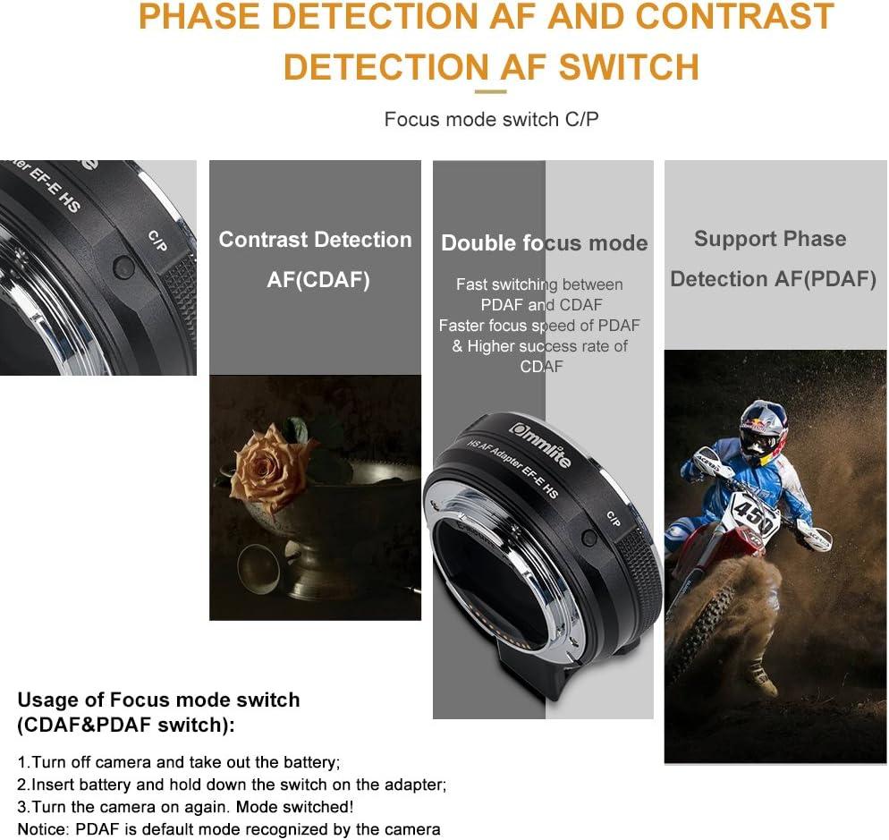 Commlite CM-EF-E HS EF/EF-S Lens para Sony E-Mount Adaptador ...