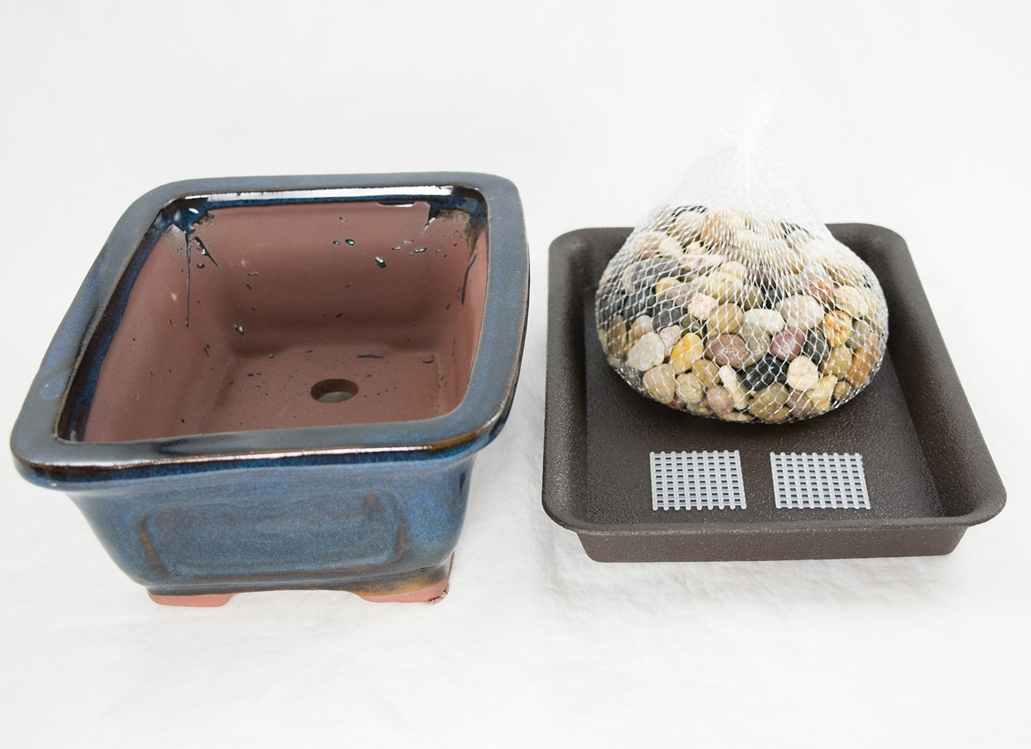 "8"" Dark Blue Shohin Bonsai / Cactus & Succulent Pot + Tray + Rock + Mesh Combo by Calibonsai"