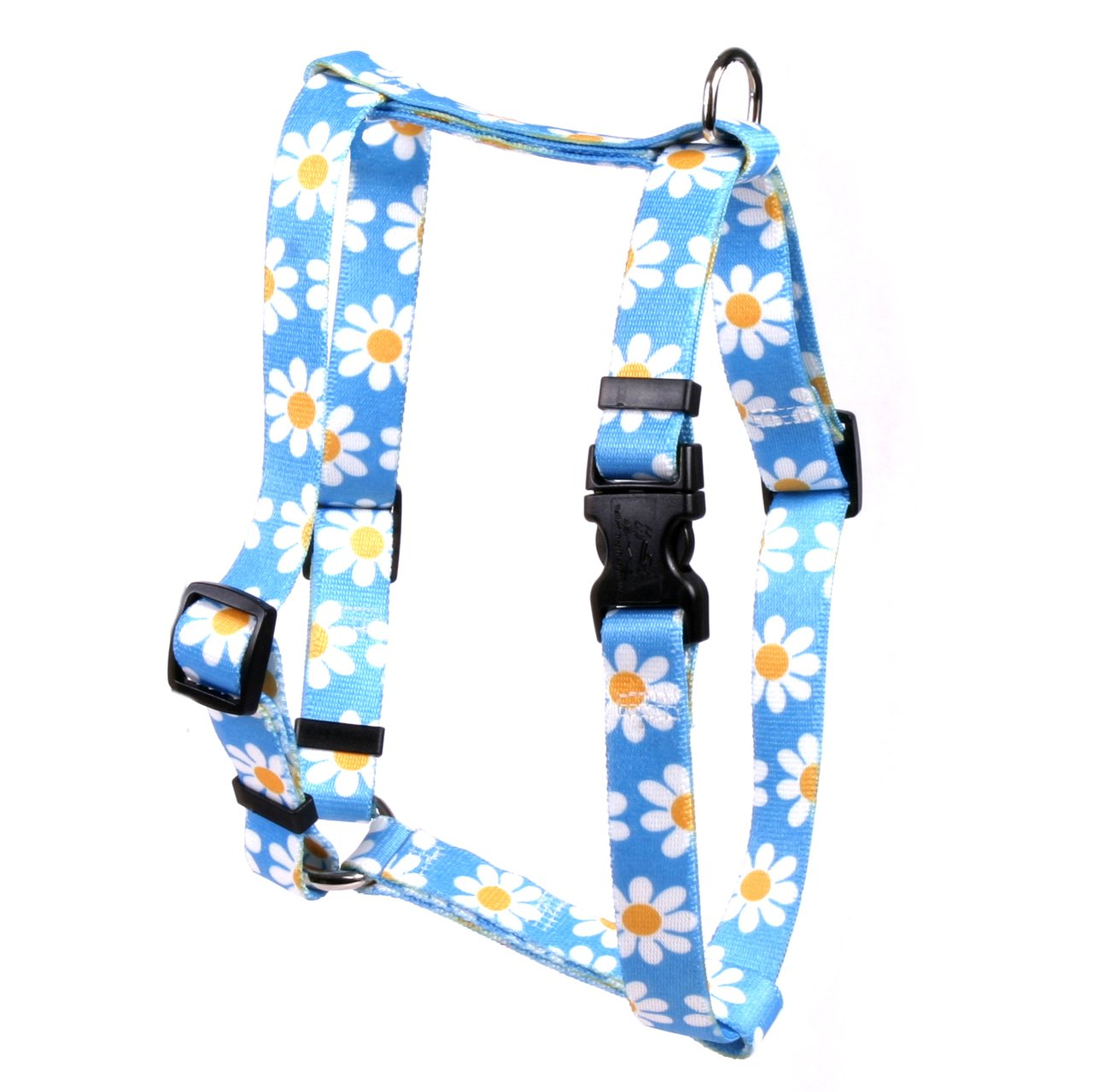 Yellow Dog Design Blue Daisy Roman Style H Dog Harness, X-Large/1'' Wide by Yellow Dog Design