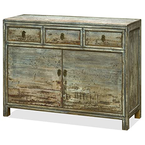 Charmant Chinese Elm Wood Peking Cabinet, Gray