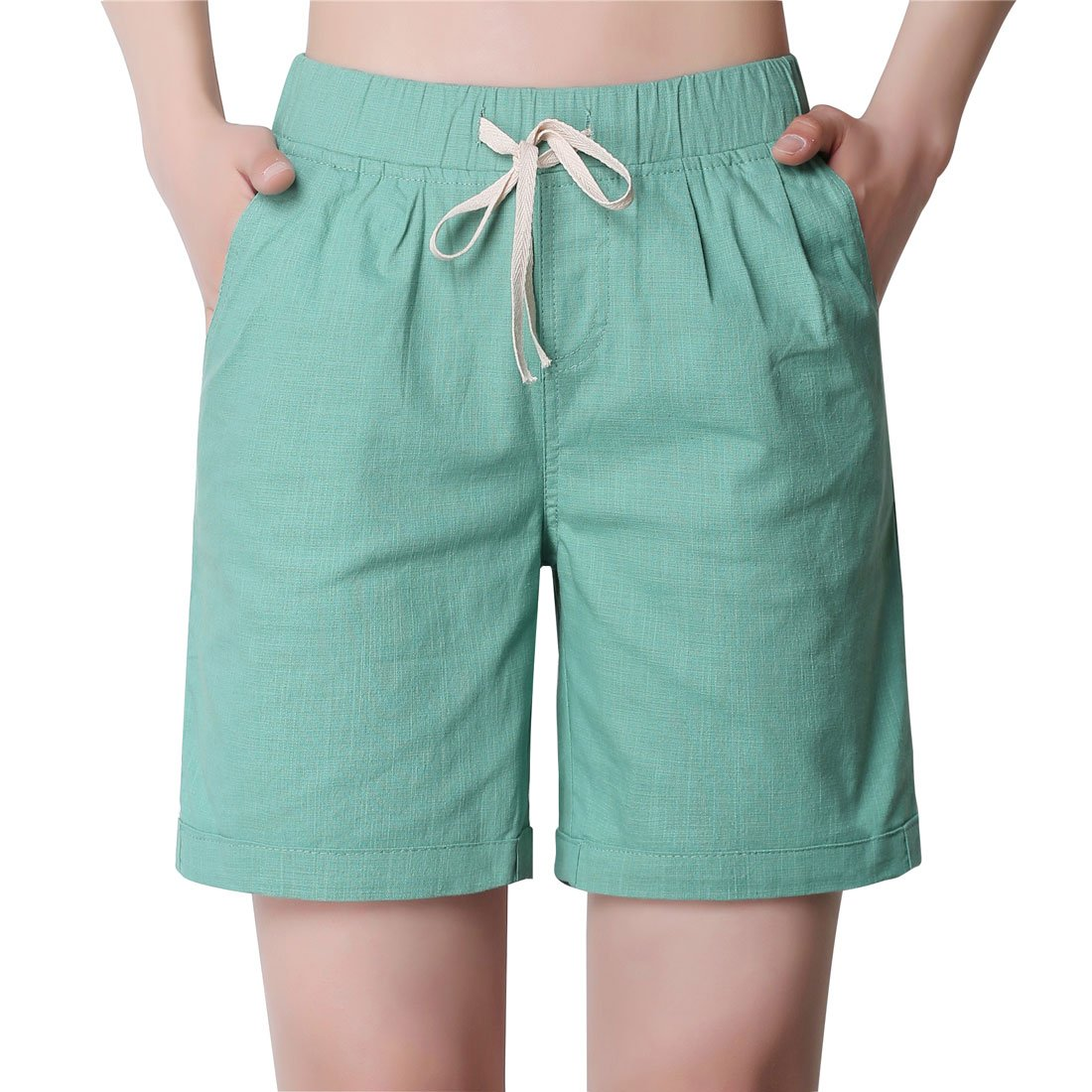 Chartou Women's Modest Loose Elastic-Waisted Bermuda Drawstring Casual Shorts (X-Large, Pea Green)