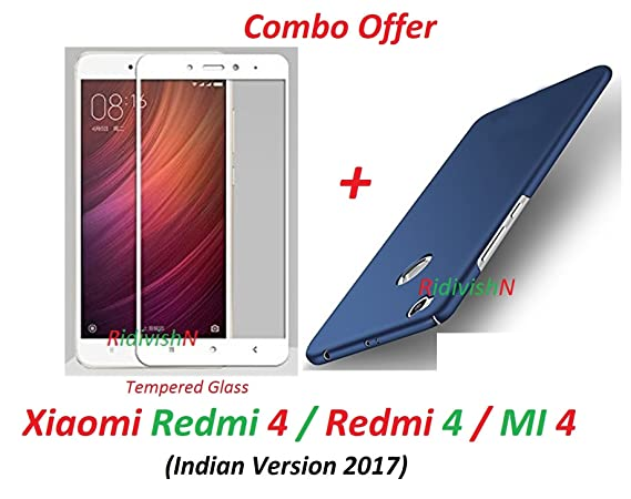 RidivishN 360 Degree Protection Matte Hard Back Case Cover for Xiaomi Redmi 4  Blue  Cases   Covers