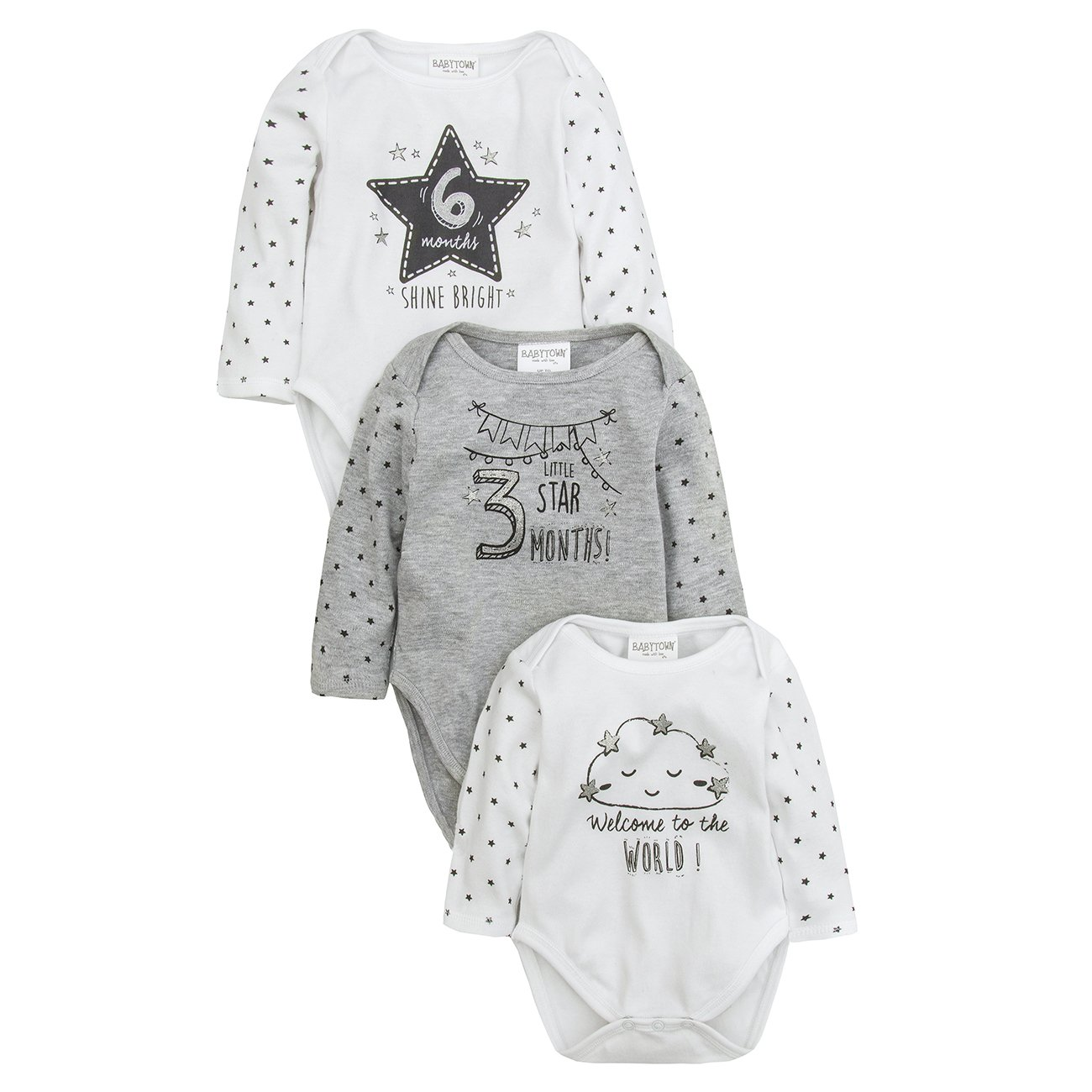 Baby Gift Pack of 3 Milestone Long Sleeve Bodysuit Vests Newborn to 6 Months