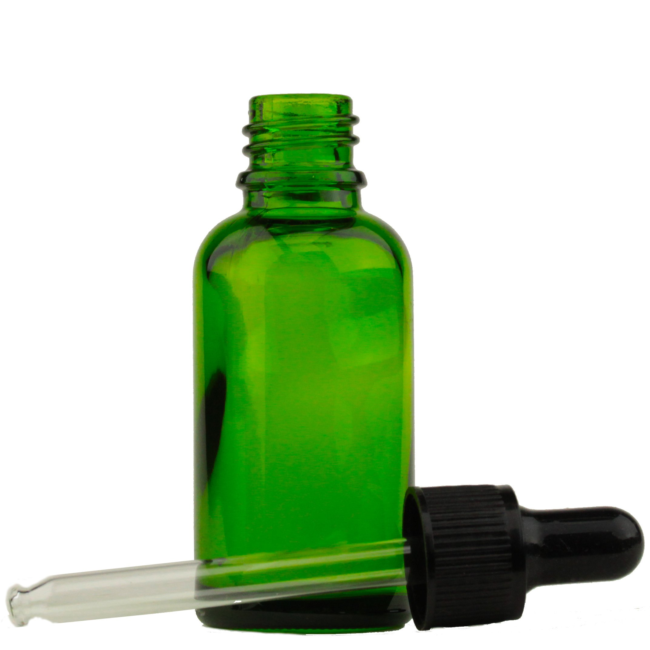 1oz. (30ml) Green Glass Essential Oil Bottle with Black Threaded Cap w/Attached Black Rubber Bulb and Glass Dropper Tube (6 Pack)