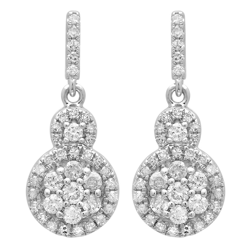 0.50 Carat (ctw) 14K White Gold Round Cut White Diamond Ladies Cluster Style Drop Earrings 1/2 CT