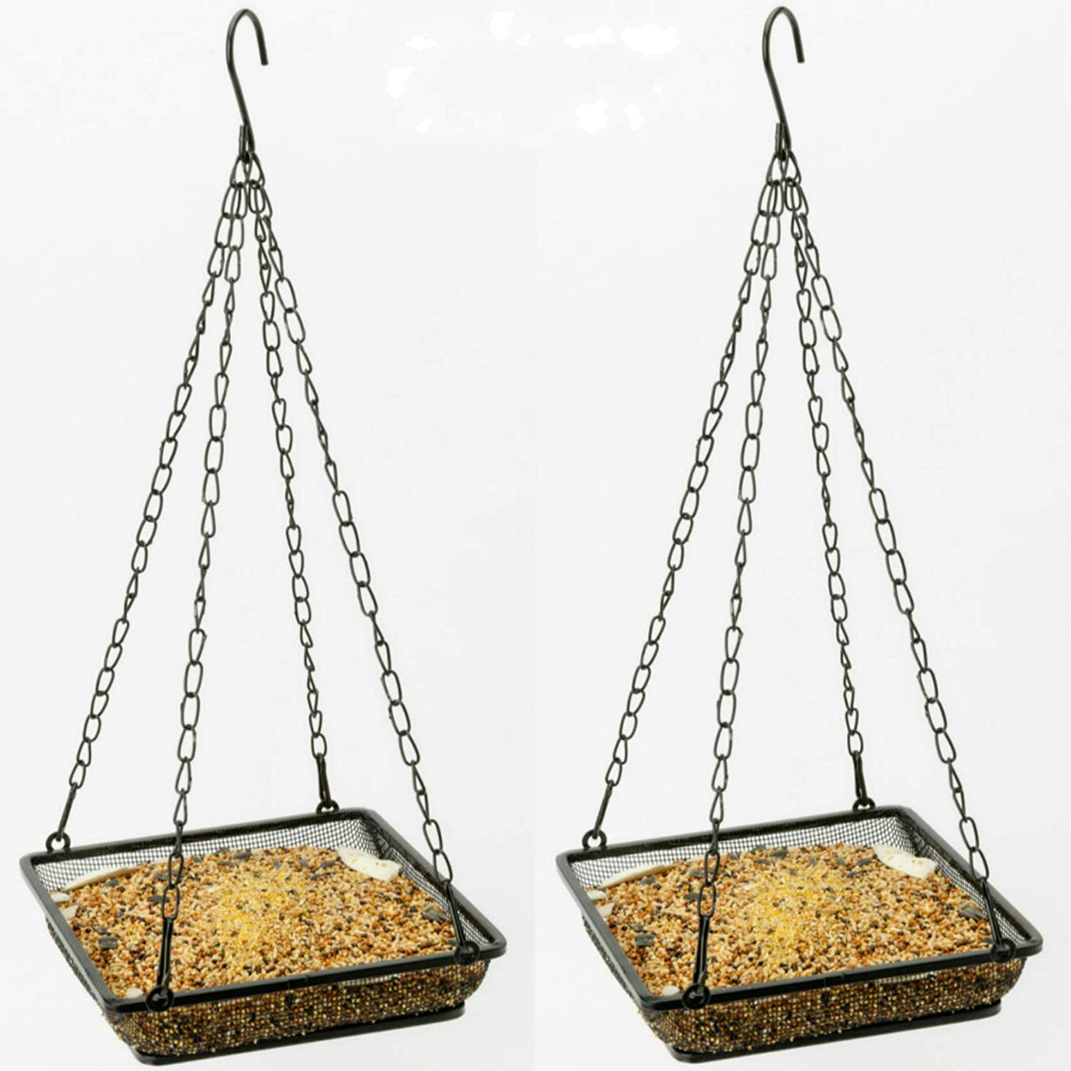WOSIBO 2 Pack Hanging Bird Feeder Tray, Platform Metal Mesh Seed Tray for Bird Feeders, Outdoor Garden Decoration for Wild Backyard Attracting Birds
