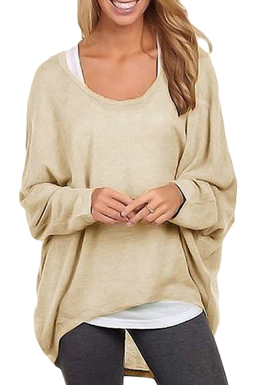 Womens Casual Loose Bat Sleeve High Low Pullover Knit Sweater CANH01