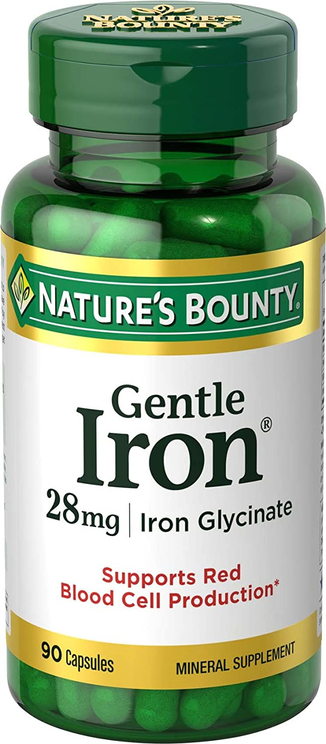 Nature's Bounty Gentle Iron 28 mg 90 Capsules (Pack of 3): Health & Personal Care