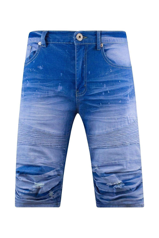 Trending Apparel Men Ripped Denim Biker Shorts Stacked Paint Splattered
