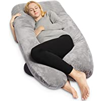 QUEEN ROSE U Shaped Pregnancy Body Pillow with Zipper Removable Cover(Blue&Pink)