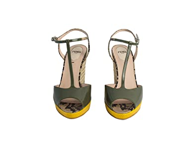 5ca2a114758c5 Image Unavailable. Image not available for. Color  Fendi Elodie t-Strap  Green Wedge Sandals