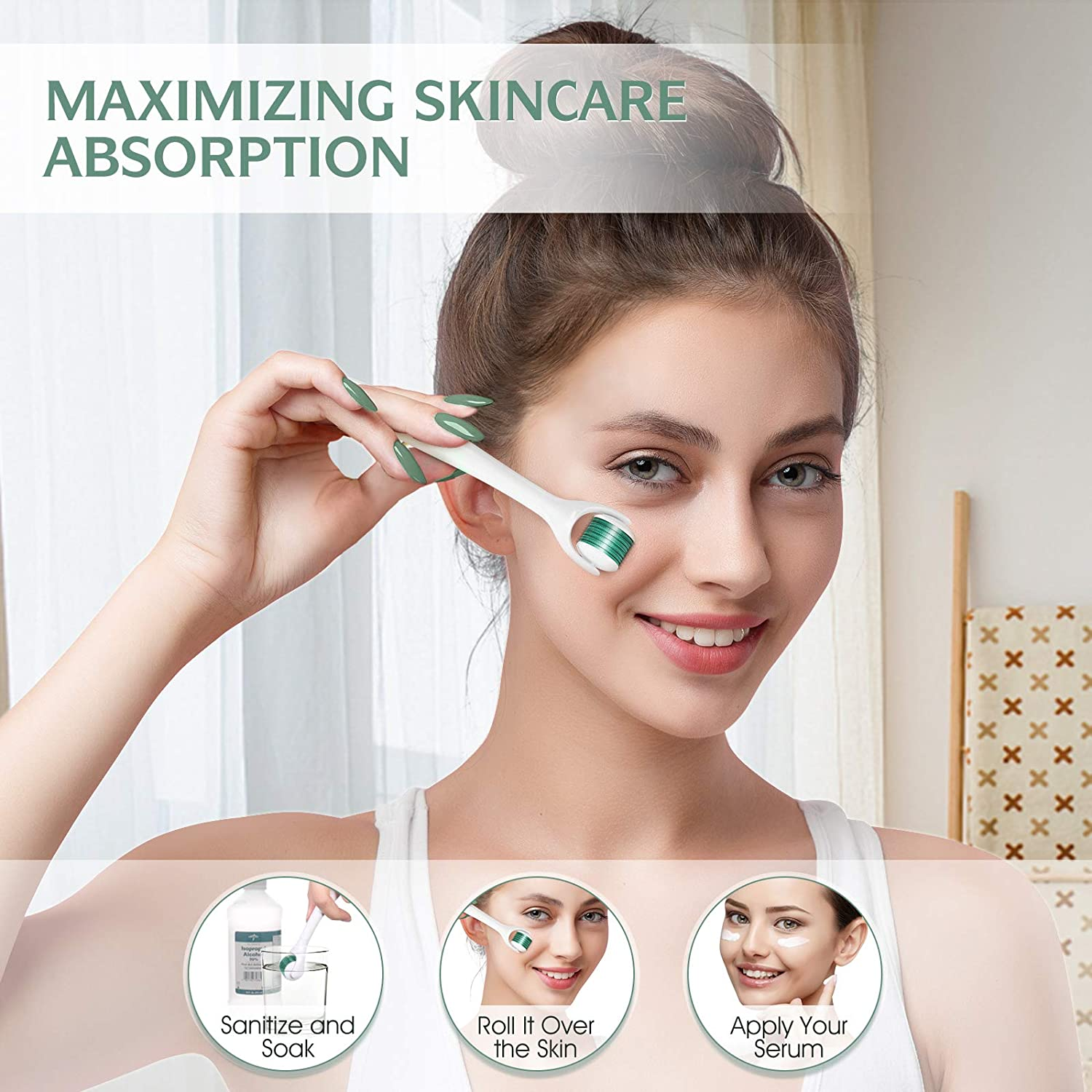 Derma Roller Cleaner, Jade Roller & Derma Roller Kit with 3 Replaceable Heads for Face Body Skin Care