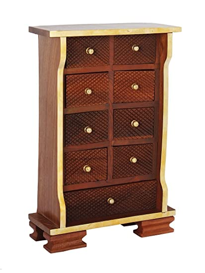 Amazoncom Wooden Chest of 9 Drawers Multipurpose Mini Armoire