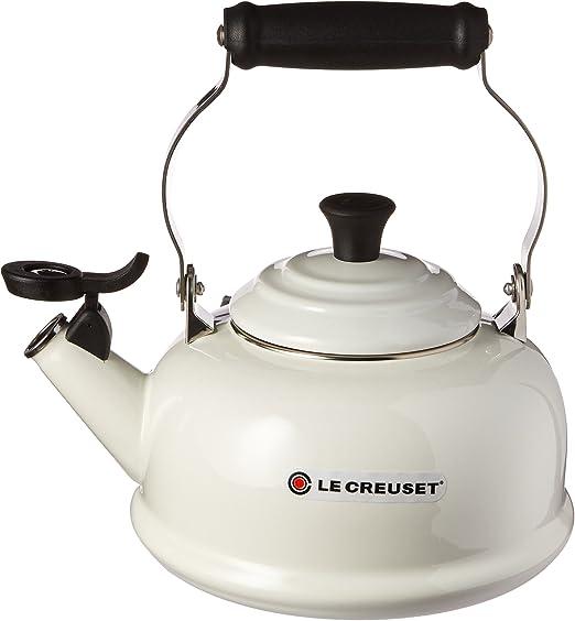 Le Creuset Q9401-16 Enamel-on-Steel Demi 1-1//4-Quart Teakettle 1.25 Qt, White