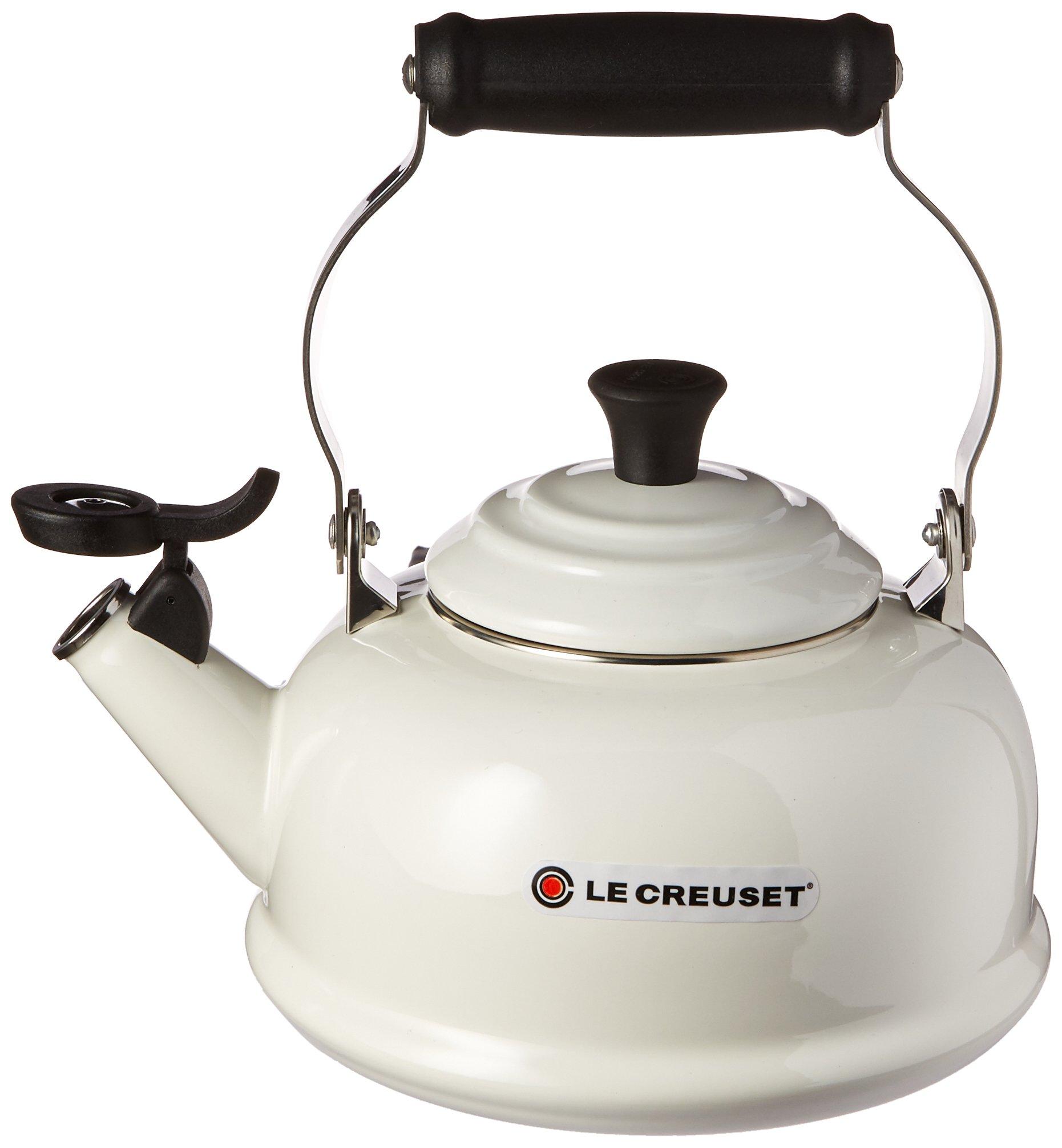 Le Creuset Q3101-16 Enamel-on-Steel Whistling 1-4/5-Quart Teakettle, White 1-4/5