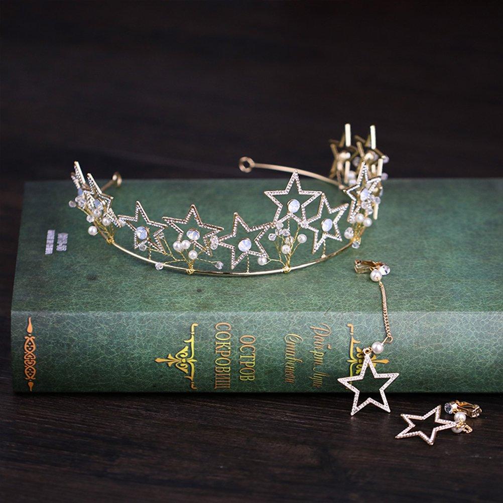 Lurrose Corona Tiara Nupcial de Estrella Vintage con Pendientes para Fiesta Boda