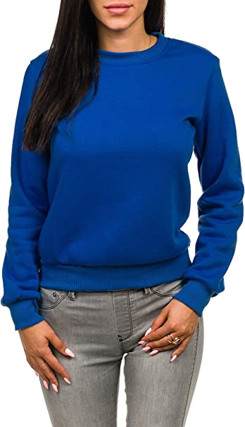 Sweatshirt Langarmshirt Pullover Pulli Basic Unifarben Classic Damen OZONEE W01