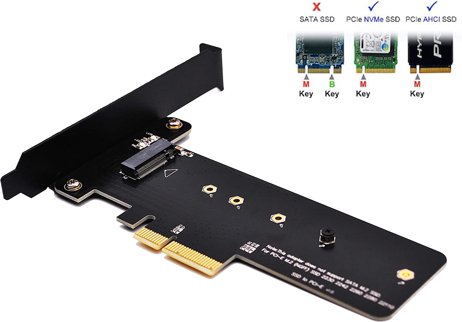 EZDIY-FAB PCI Express M.2 SSD NGFF PCIe Card to PCIe 3.0 x4 M2 Adapter (Support M.2 PCIe 22110,2280, 2260, 2242)