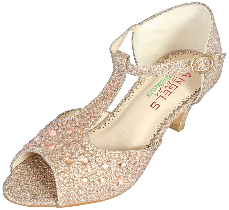 Angels New York Girls Glitter & Stone Sandal with Memory Foam Insole, Rose Pink, 6 M US Big Kid