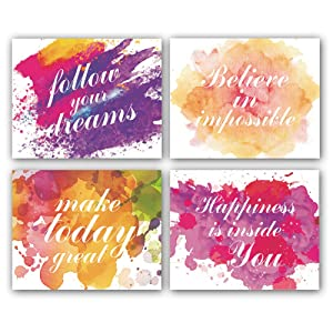 """Motivational Inspirational Word&Sign Quotes Art Positive Life Typography Print, Set of 4 Canvas Art(8""""x10"""") Famous Phrases Unique Sayings Posters,Graduation Gift,Multicolor"""