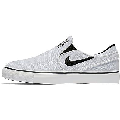 Nike Boy's SB Stefan Janoski Canvas Slip Shoe (PS), White/Black Size