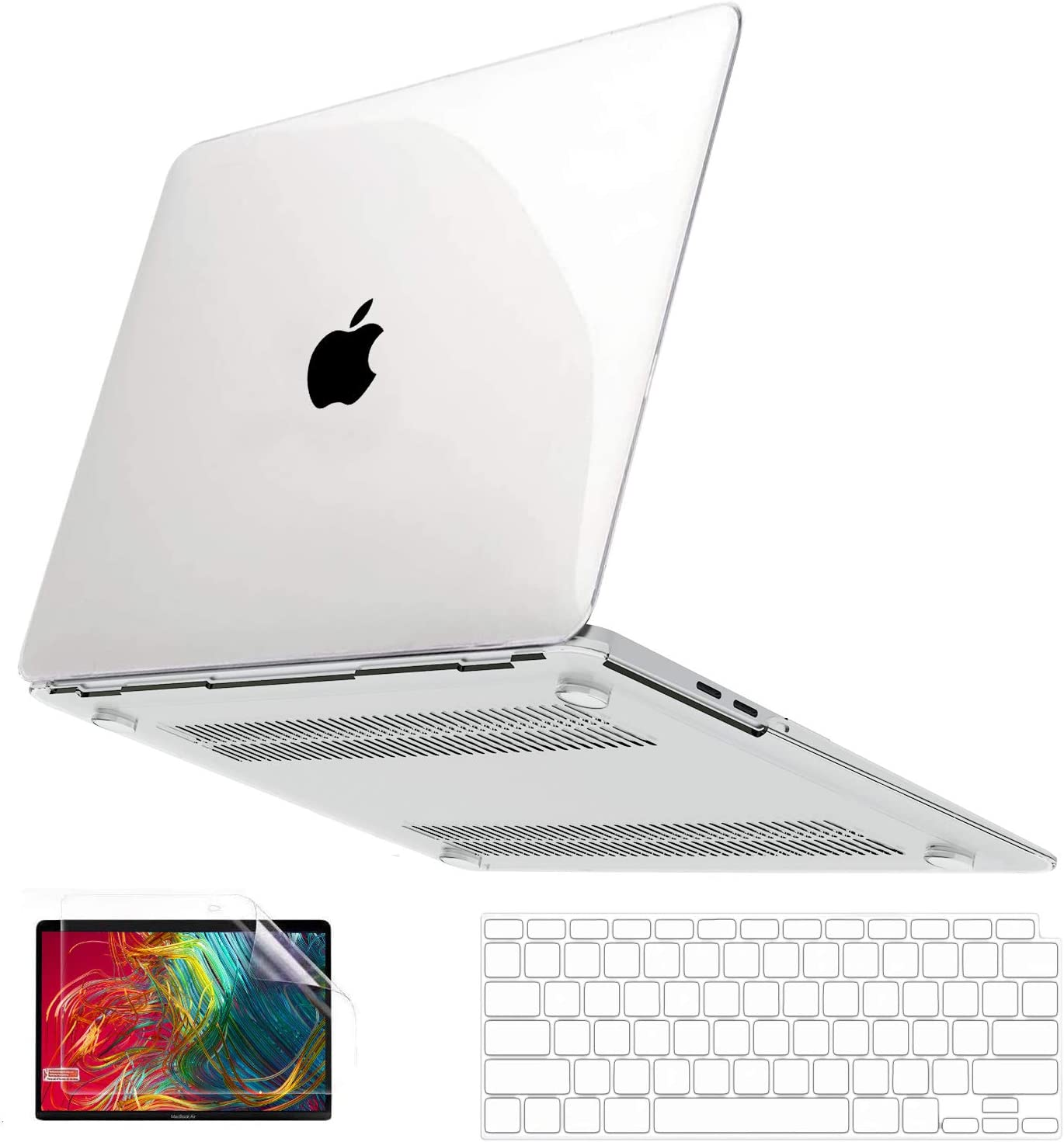MacBook Air 13 inch Case 2020 2019 2018 Release A2179 A1932 with Retina, Anban Ultra Slim Crystal Clear Plastic Hard Shell Cover with Keyboard & Screen Protector for Mac Air 13 2020 with Touch ID