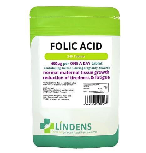 Ácido fólico comprimidos 2-PACQUETE 480 tabletas, 400 mcg - una por día (