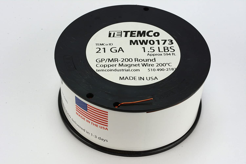 Amazon.com: TEMCo 8 AWG Copper Magnet Wire - 1 lb 20 ft 200°C ...