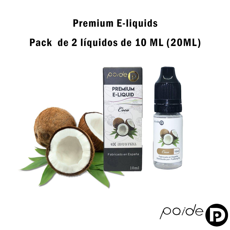 2 x 10ML Paide Premium E-Liquid - Sin nicotina - Líquido para cigarrillo electrónico - 50VG 50PG (Coco): Amazon.es: Salud y cuidado personal
