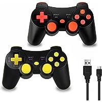 2 x Manettes de Jeu sans Fil avec Double Vibration 6 Axes(SIXAXIS) pour Sony PS3 Playstation 3, Câble de Jeu et de Charge Inclus (Rouge/Jaune)