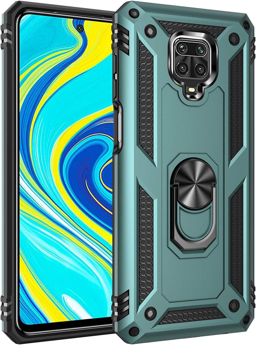TANYO Funda Adecuado para Xiaomi Redmi Note 9S, Anillo Metálico Soporte Función Magnética del Coche Heavy-Duty Armadura Anti-Caída Case, Verde Oscuro