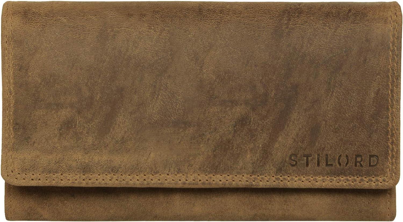 Colore:kara STILORD Hannah Portafoglio vintage in pelle da donna Borsellino con portamonete a cerniera in cuoio marrone Portafogli formato orizzontale cognac