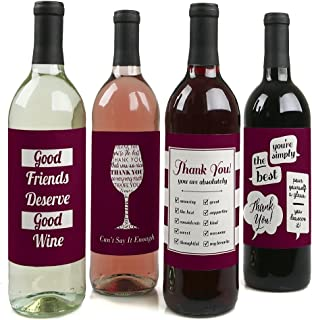 product image for Girly Thank You - Thank You Gift for Women - Wine Bottle Label Stickers - Set of 4