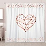 SUMGAR Pink Love Rose Gold Shower Curtain for Bathroom Teen Girls Decoration Geometric Curtain Set with Hooks, 72 x 72 inch